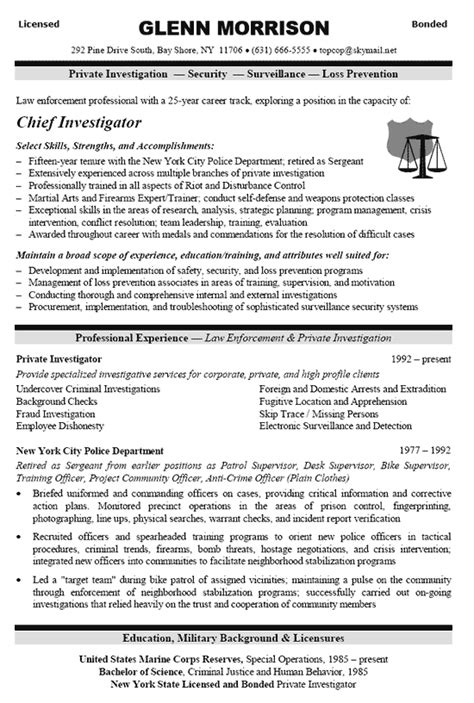 Sle Resume For Armed Security Officer by Security Resume Format Resume Template Easy Http Www