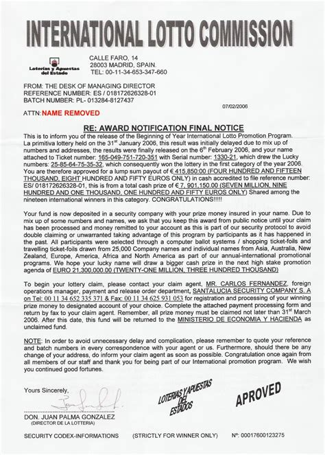 Divorce Letter Wins Lotto 419 Scam Lottery Winning Notification By Postal Mail Letter From Elgordo Santa Lucia