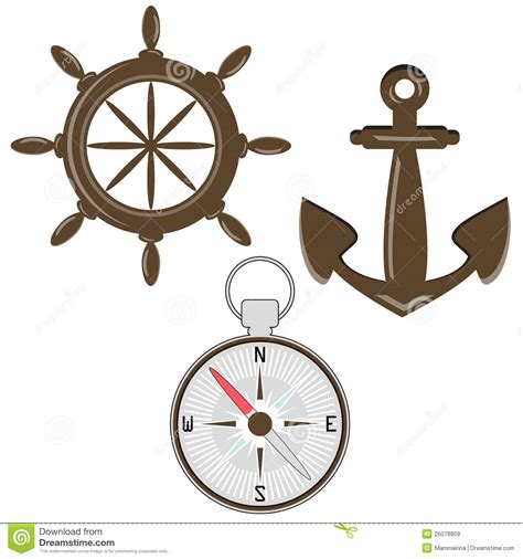 tattoo helm compass set of helm compass and anchor royalty free stock images