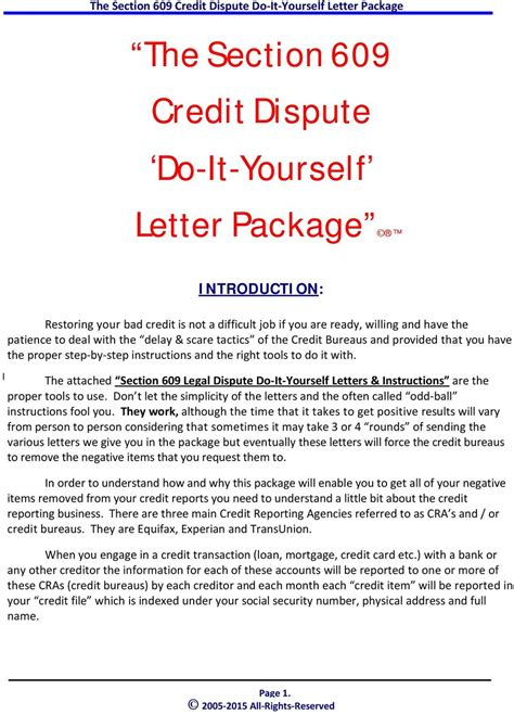 The Section 609 Credit Dispute Do It Yourself Letter Package Pdf 609 Dispute Letter To Credit Bureau Template