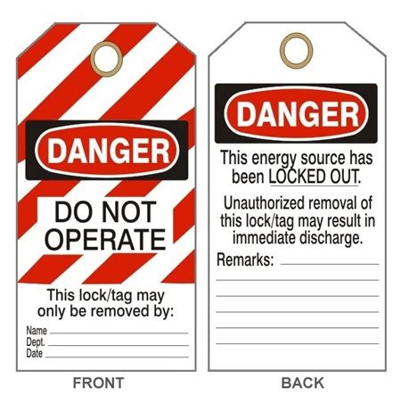 lockout tagout tags safety tags