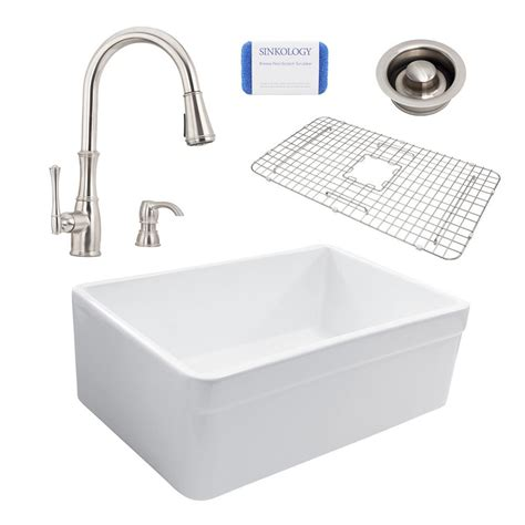 All In One Kitchen Sinks Sinkology Wheatley Reversible All In One Farmhouse Fireclay 30 In Single Bowl Kitchen Sink With
