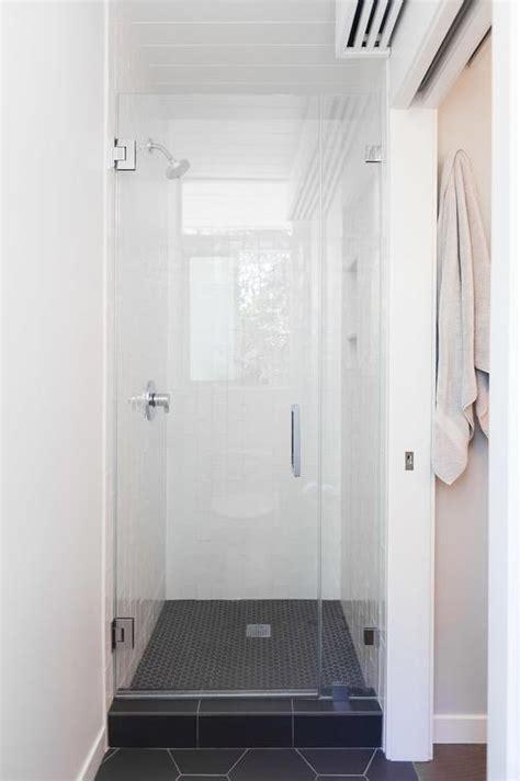 bathroom shower floor tile white shower with black hex tile shower floor