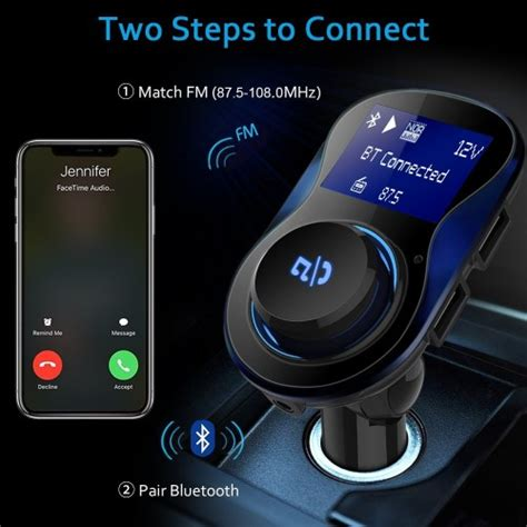 bovon bluetooth fm transmitter wireless radio adapter car kit