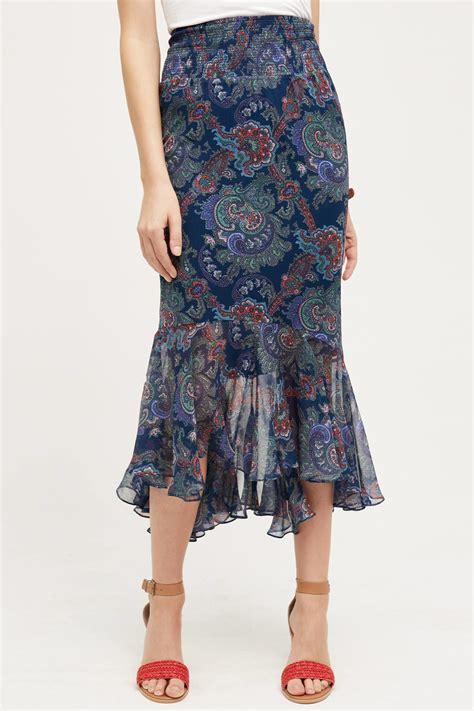 virginia paisley silk skirt in blue lyst