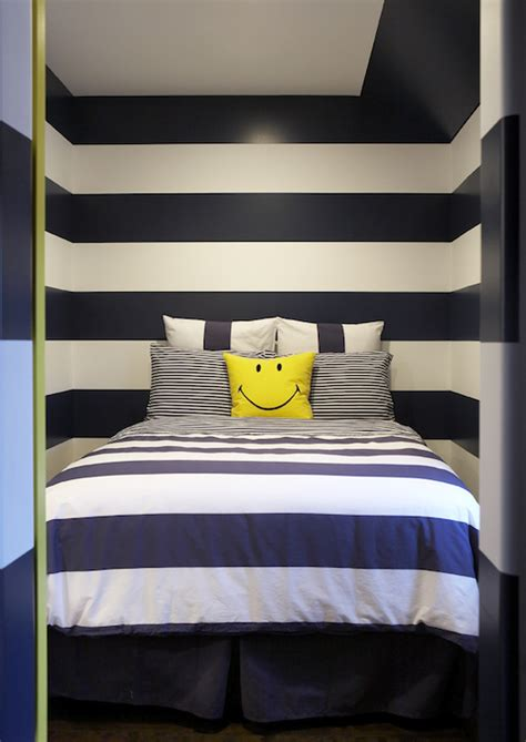 white and navy blue striped wall eclectic bedroom navy striped walls contemporary boy s room leo
