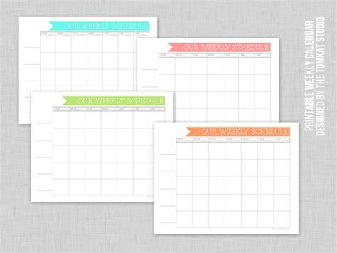 printable weekly family calendar tomkat studio blog