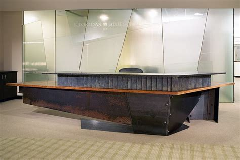 Metal Reception Desk Reception Desk Metal Front Desk Reception Design Recycled Materials