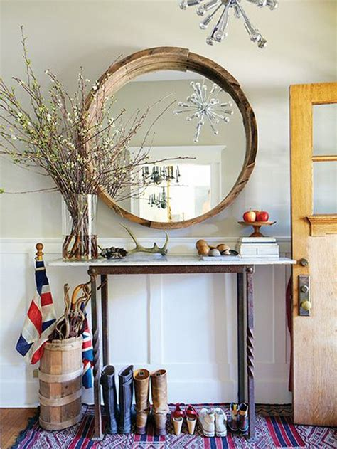 entry way mirror entry with round raw wood mirror