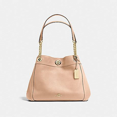 Coach Leather Bag Beechwood by Turnlock Edie Shoulder Bag In Pebble Leather Coach F36855 Light Gold Beechwood Www Handhandbag