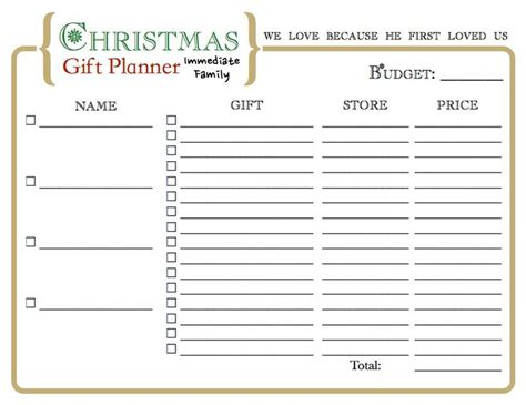 christmas gift organizer printable for the home pinterest