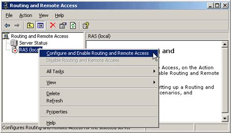 configure xp remote access managing routing and remote access in windows server 2003