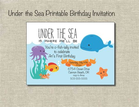 printable birthday cards etsy under the sea printable birthday invitation digital file