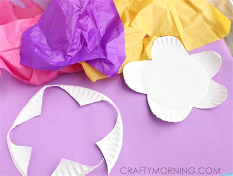 Tissue Paper Craft Flowers - paper plate flower craft using tissue paper crafty morning