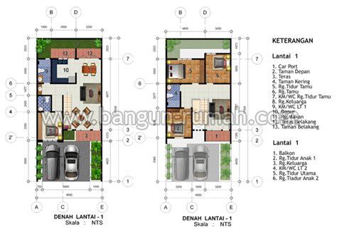 desain rumah  lantai  lahan    meter desain rumah