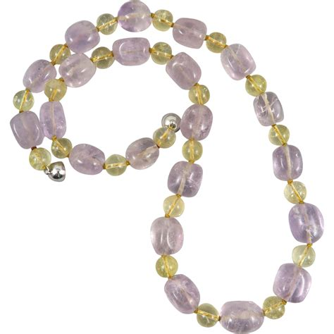 amethyst bead necklace lavender amethyst and citrine bead necklace 24 quot from