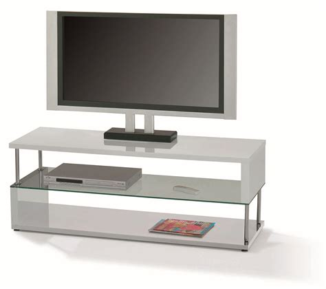 modern white gloss tv stand with chrome for bedroom of
