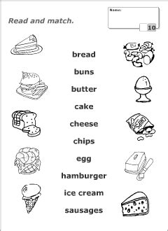 guess my word 35 food items worksheet free food vocabulary for learning matching