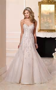 fit and flare beaded tulle lace strapless sweetheart