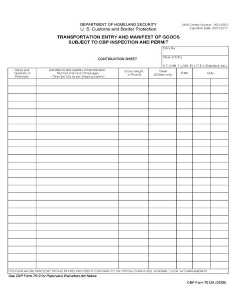 Cbp Form 7512a Transportation Entry And Manifest Of Goods Free Download Shipping Manifest Template