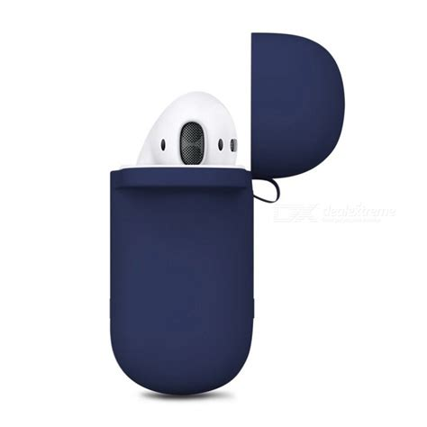 Barang Berkualitas Anti Lost For Apple Airpods Blue Stok portable silicone with key chain for apple airpods blue free shipping dealextreme