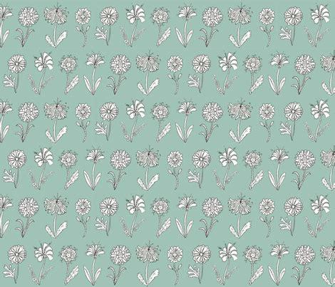 flower doodle fabric flower doodle aqua fabric rachelmacdonald spoonflower