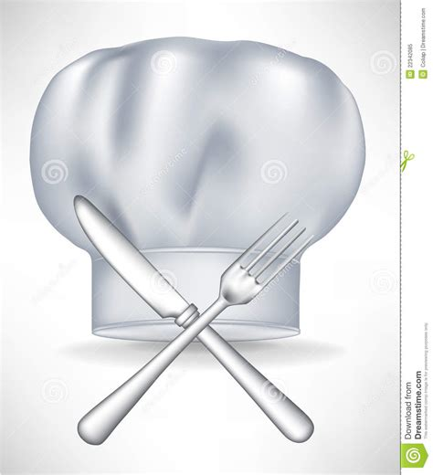 Restaurant Kitchen Knives Chef Hat With Crossed Knife And Fork Royalty Free Stock