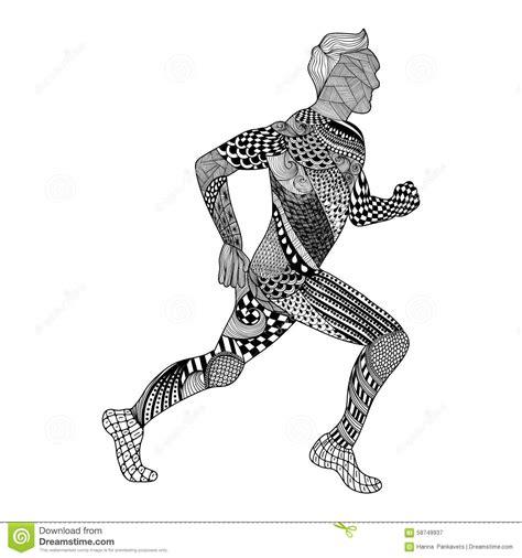 Gara White Tribal zentangle stylized runner doodle style