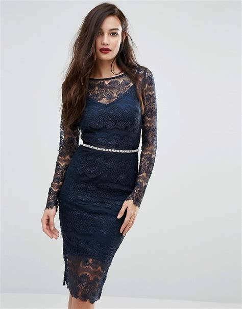 bodyfrock sleeved lace bodycon dress with sash belt