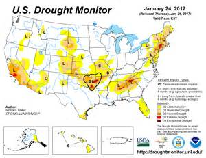 drought map u s drought monitor update for january 24 2017