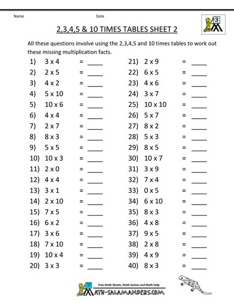 printable times tables practice sheets free printable math sheets multiplication 2 3 4 5 10 times