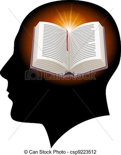 libro de la cabeza a ilustraciones de vectores de cabeza macho abierto libro macho cabeza silueta con