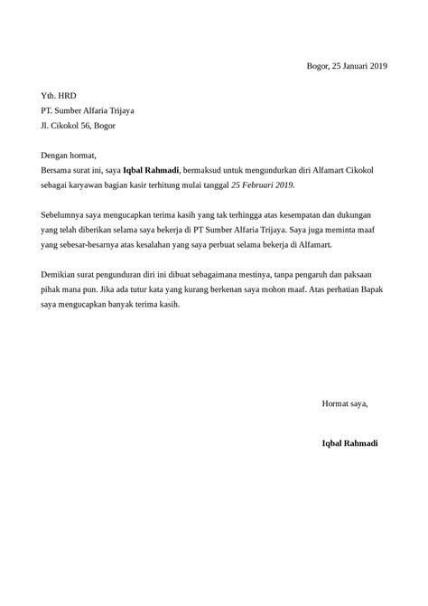 surat pengunduran diri alfamart detiklife