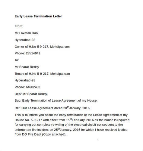 Letter Of Early Lease Termination To Landlord Sle Early Lease Termination Letters 9 Free Documents In Pdf Word