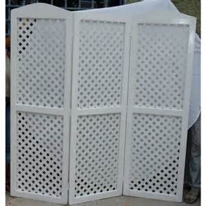 White Trellis Screen Solid Folding Lattice Screen White