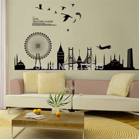 silhouette home decor saturday monopoly diy wall sticker home decor decals modern city silhouette office living room