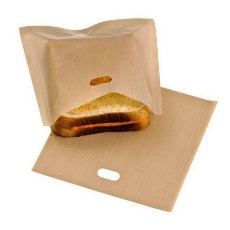 5x reusable toaster toastie sandwich toast bags pockets