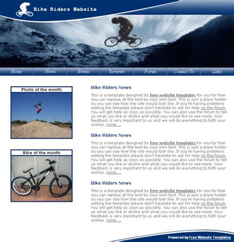 A Bike Riders Template Free Website Templates Bike Showroom Website Template Free