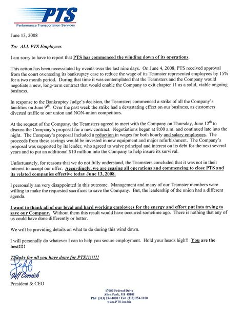 Closing Letter To Staff The Closing Of Pts Is Now Official Transportfool