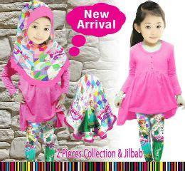 Setelan Dress Anak Perempuan Denim Chambrey Pink 3 4 Thn tren baju muslim anak laki laki dan perempuan awal tahun