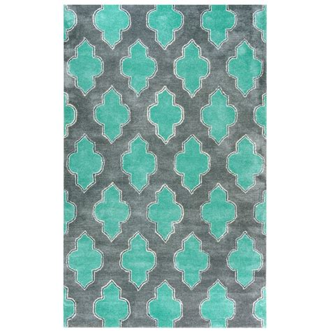 Turquoise And Gray Area Rug Rizzy Home Fusion Collection Gray Turquoise 5 Ft X 8 Ft Print Area Rug Fn2209 5 X 8 The