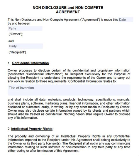 non compete non disclosure agreement template sle non compete agreement 7 documents in pdf word
