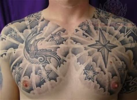 tattoo black and grey clouds black and grey compass cloud tattoo on chest