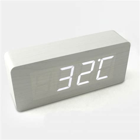 hito wood grain led alarm clock contemporary alarm clocks by