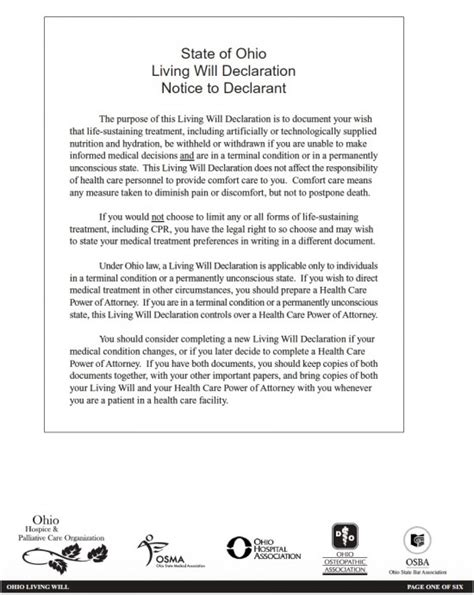 ohio living will template living will form printable sle last will and testament