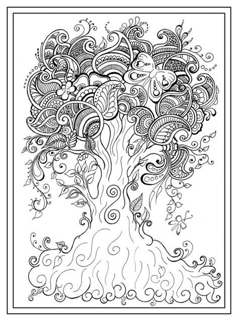 Adult Colouring In Pdf Download Tree Dragonfly Henna Zen Tree Coloring Pages Pdf