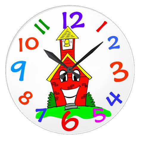 little red school house little red school house kids room wall clock zazzle com