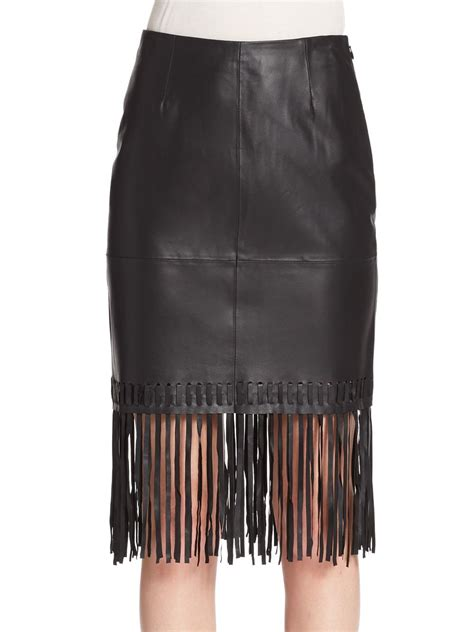 elizabeth and jaxson leather fringe pencil skirt in