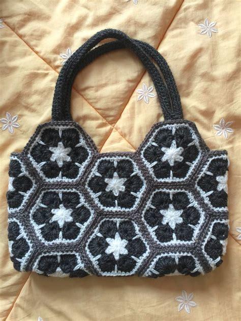 african flower crochet pattern bag white black and grey african flower crochet bag crochet
