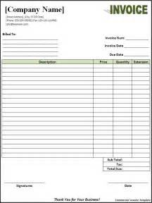 Invoice Template by Commercial Invoice Format Free Word S Templates